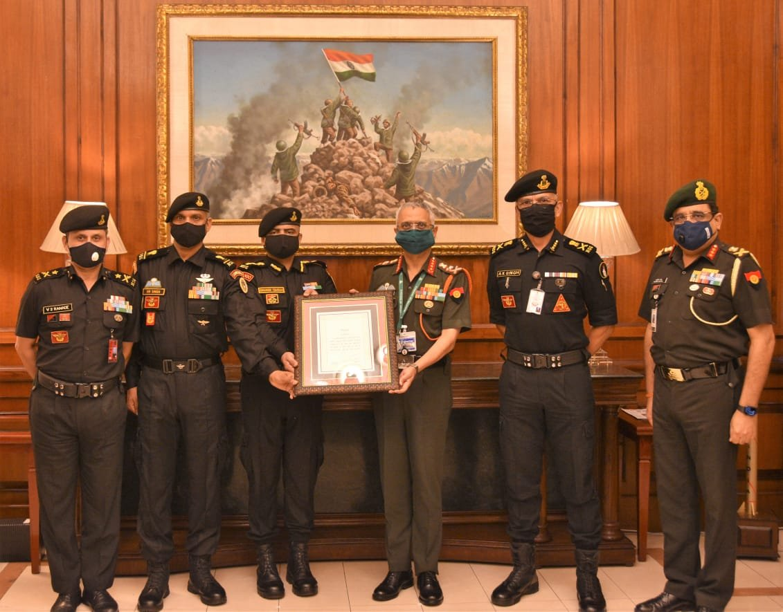 Chief of Army Staff General Manoj Mukund Naravane, today conferred the COAS Unit Appreciation to 51 Special Action Group of the National Security Guards in recognition of the Group's outstanding achievements in combating terrorism.