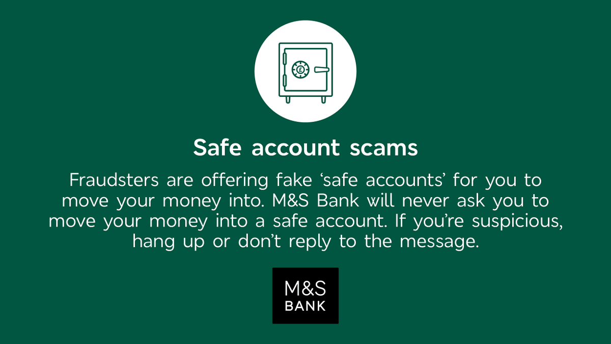 Scammers are offering fake 'safe accounts' for people to move their money into. We'll never ask you to move your money into a safe account. Head to our website for more information on how to stay safe: https://t.co/d4L0Xv9p5G https://t.co/VXrDNZrkd6