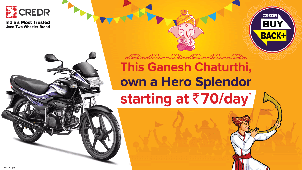 This #GaneshChaturthi brings you an opportunity to buy your own #HeroSplendor starting at Rs. 70/day under the #CredRBuyBackPlus. Book a test ride here - https://t.co/WbCKBWPEWN #CredR #BuyBackPlus https://t.co/WsSllSlOOX