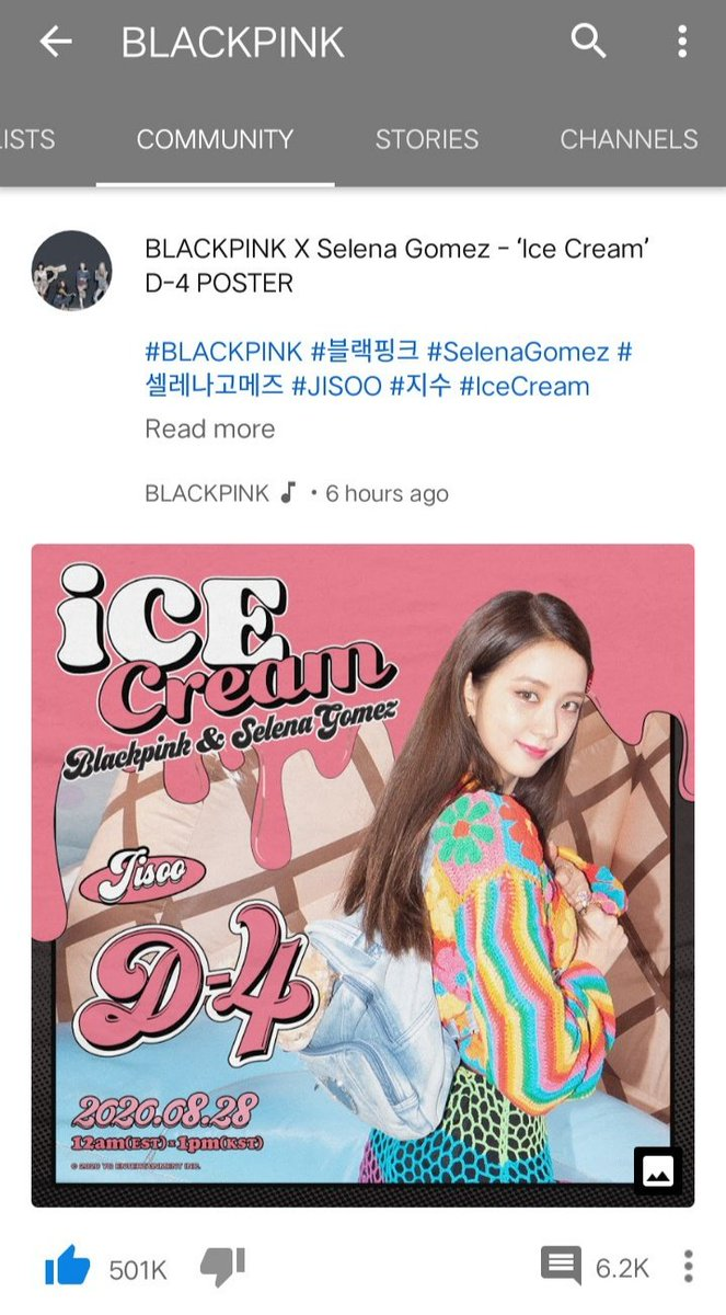 Foreverkimjisoo On Twitter Head To Blackpink S Official Channel Community Tab And Give Jisoo S Ice Cream Teaser Poster A Thumbs Up It Just Surpassed 500k Likes Let S Reach 1m Likes Today 블랙핑크