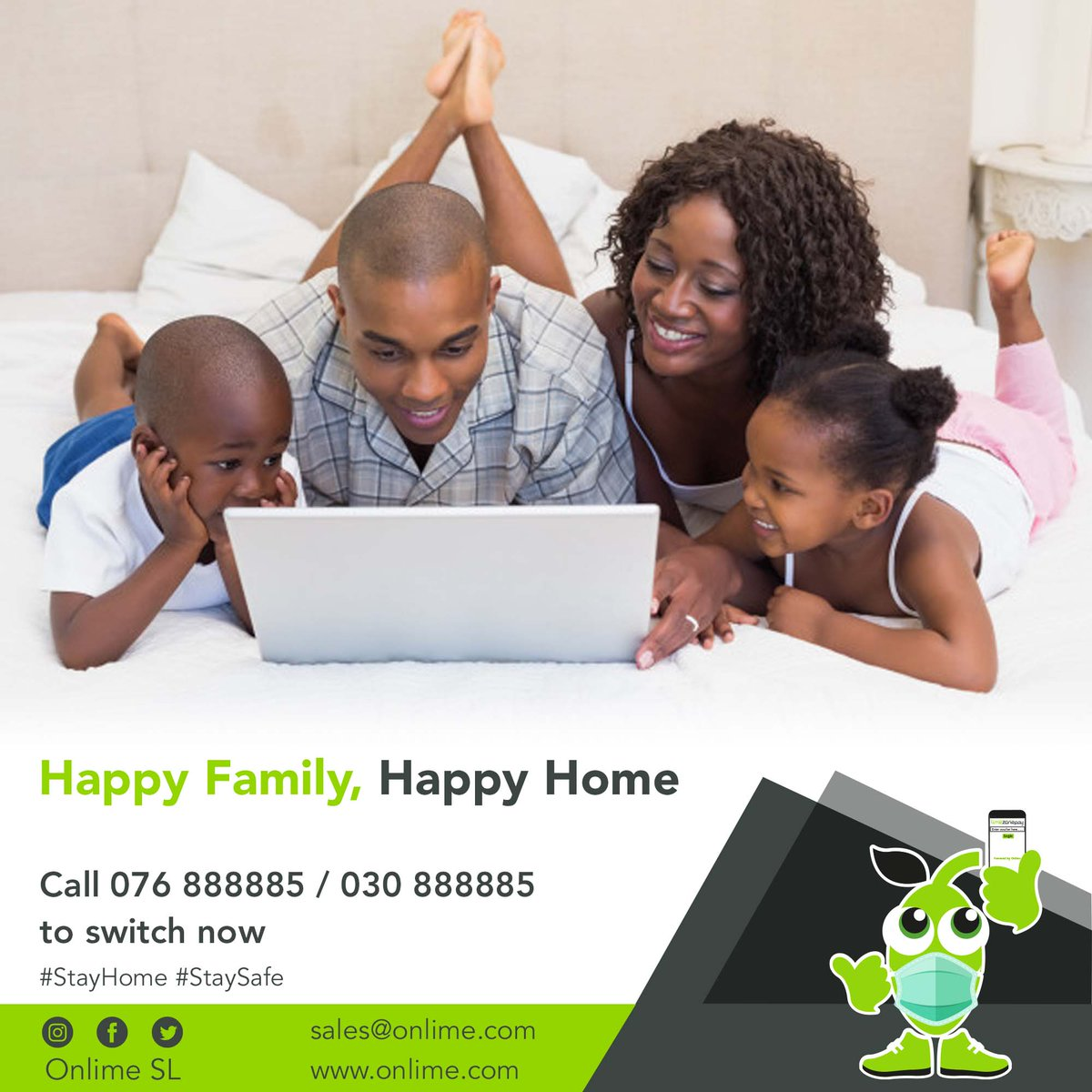 Super-fast internet to bring loved ones closer. Switch to #OnlimeInternet today and feel the difference. Call 076 888885 / 030 888885 or email sales@onlime.sl to get started. #SierraLeone #StayHome #StaySafe #Freetown https://t.co/AfzfyyryA8