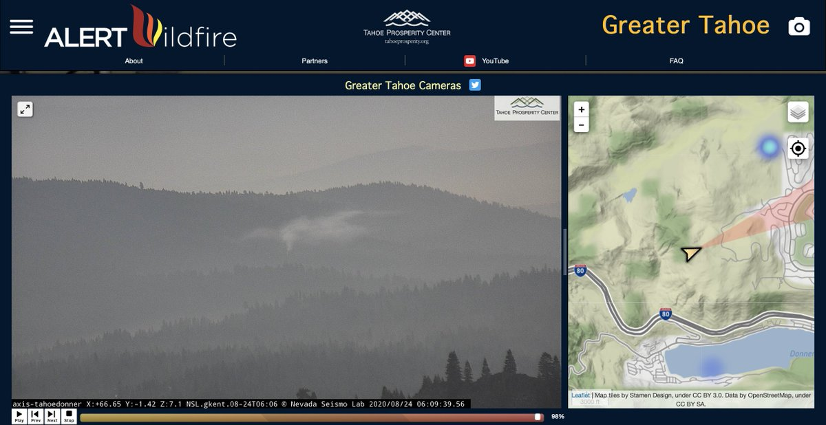 Early morning lightning fire discovery from the new #TahoeDonner @AlertWildfire @nvfirecams @Tahoeprosperity.  @unevadareno @UCSanDiego @uoregon https://t.co/cAXBUxZJjV