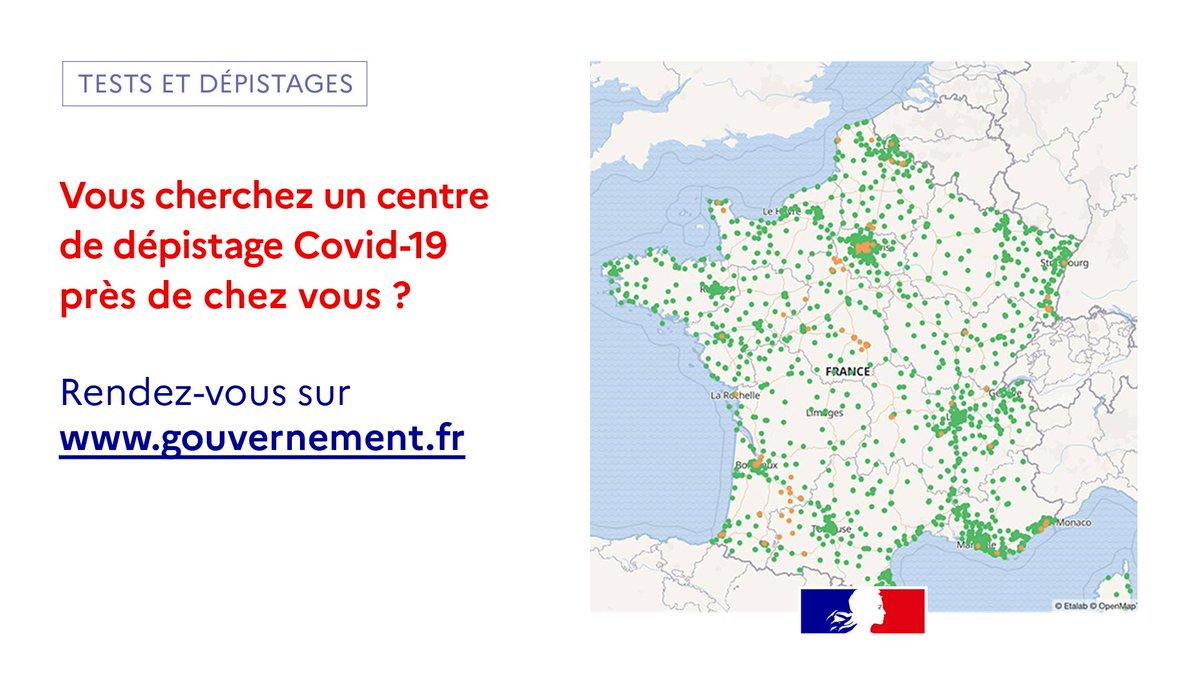 #COVID19   Le virus circule toujours. Partout en France, vous avez la possibilité de vous faire tester gratuitement.Retrouvez les centres de dépistage près de chez vous ➡️ gouvernement.fr/info-coronavir… https://t.co/E8o3y91APo