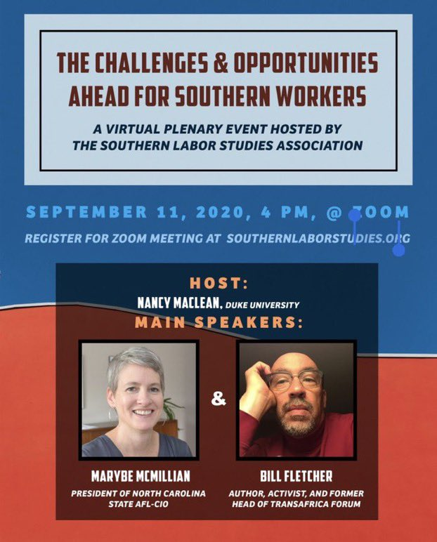 #RT for a signed #book #giveaway!!!  1. RT our amazing virtual plenary session 9/11 w @BillFletcherJr  2. Register for the session  3. Find out Friday am if you've won a signed copy of Bob Korstad & Jim Leloudis' FRAGILE DEMOCRACY: The STRUGGLE OVER RACE & VOTING RIGHTS IN NC!🔥 https://t.co/xgGeXcbjRO