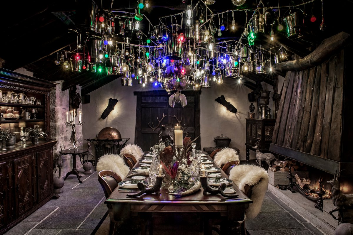 One of the most striking private dining rooms we have ever found.  Worth the trek through the Cairngorms to Braemar in the Scottish Highlands.  The Fire Room, The Fife Arms Hotel, Braemar.  @fife_arms @visitscotland #GetBritainMeeting #cairngormsnationalpark
