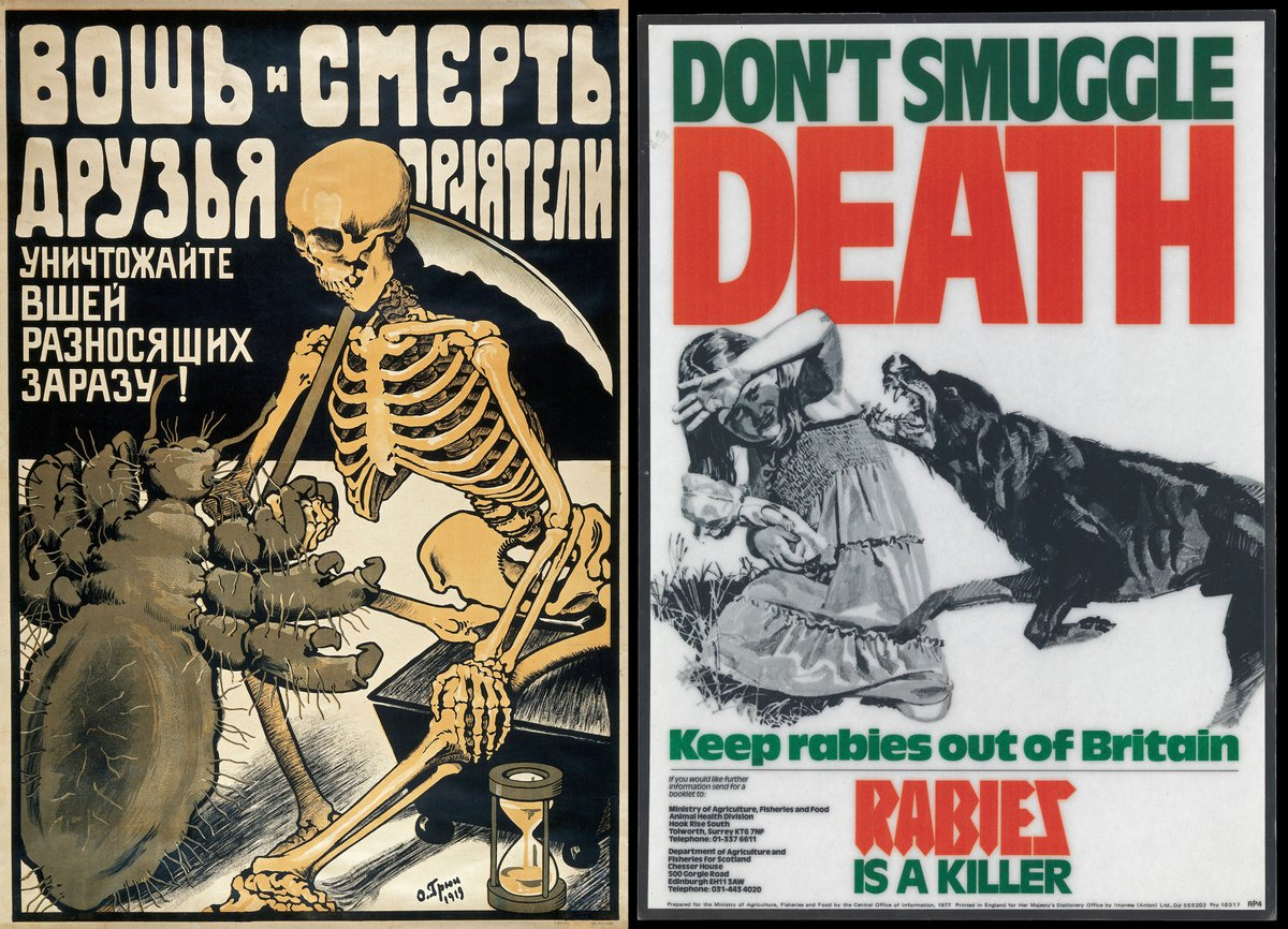 Some posters used grotesque and potent imagery, utilising fear as a means to encourage behavioural change. These not-so-subtle examples dating from 1919 and 1977, respectively, warn against ticks (to prevent the spread of typhus) and importing dogs (to prevent rabies). 😨 https://t.co/KqvjFvcGoJ