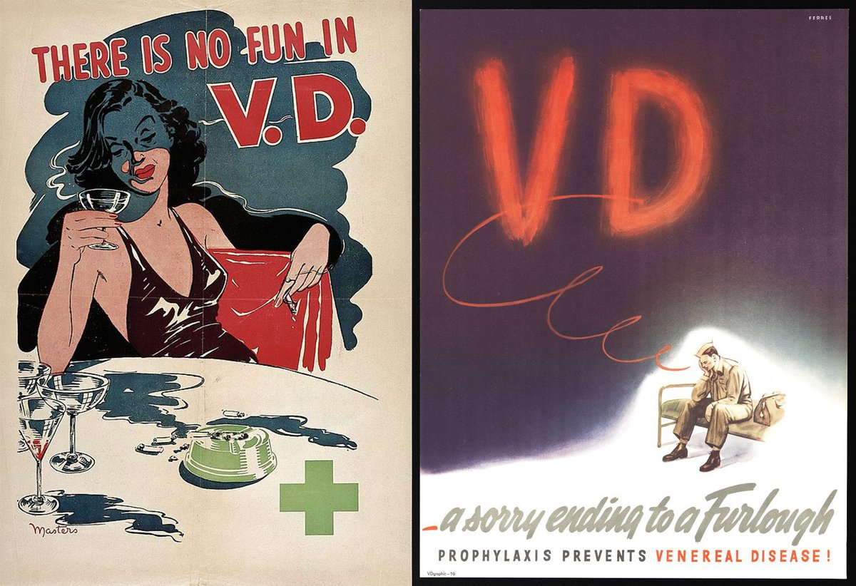 These posters from the 1940s were produced in a bid to stem outbreaks of sexually transmitted diseases (STIs). One uses the image of a glamorous woman to warn against the dangers of promiscuity, while the other shows a soldier who has been infected with a STI while on furlough. https://t.co/L8xLCwyR84