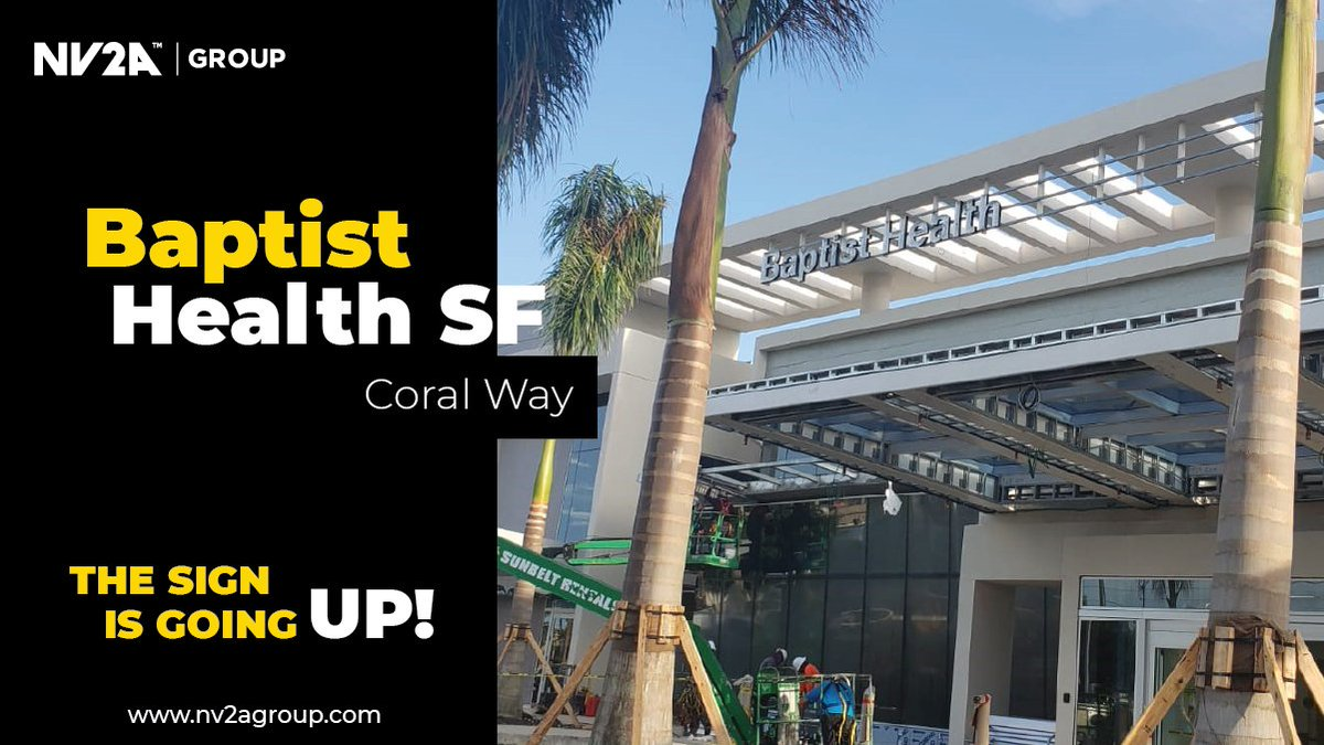 Signage is going up! and our team is proud to deliver progress at the Freestanding Emergency Care Facility in Coral Way. A great-looking project for the community! @BaptistHealthSF  #BaptistHealthSF #healthcare #builditbetter #southflorida #construction https://t.co/218OxfiV7l