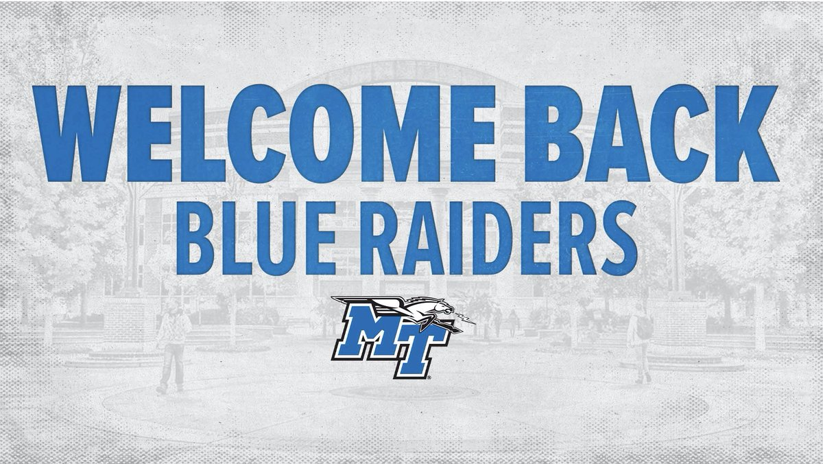 Welcome back Blue Raiders!  Good luck to all the students this fall!  #BlueRaiders | #MT https://t.co/4Bq2szLJwc