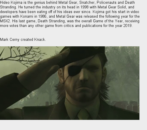 Happy Birthday Hideo Kojima and Mark Cerny, both born on this date, exactly one year apart