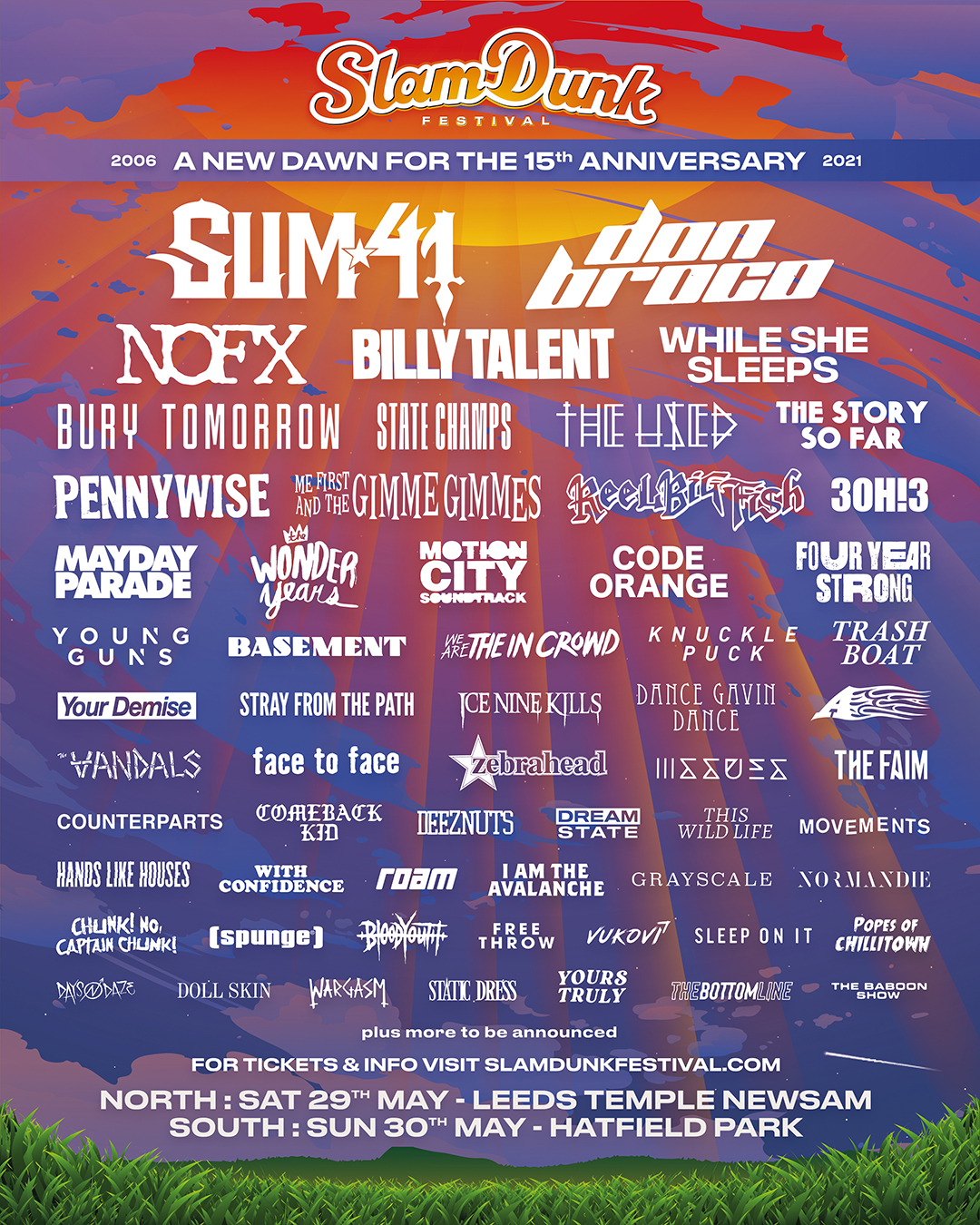 """Slam Dunk Festival on Twitter: """"We are very pleased to confirm the final list of artists who were due to play SDF20 and who are able to come back to play SDF21"""