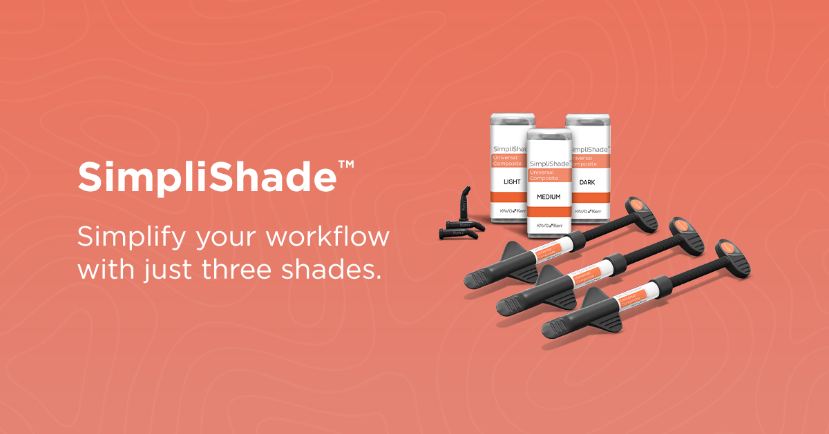 SimpliShade™, Kerr's 3-shade universal composite system launches today! Powered by Adaptive Response Technology (ART) found in Harmonize™ for lifelike restorations with exceptional strength and unmatched esthetics. https://t.co/11DZcloiRw #simplishade #restoratives #simplicity https://t.co/CMdlJO5Hta