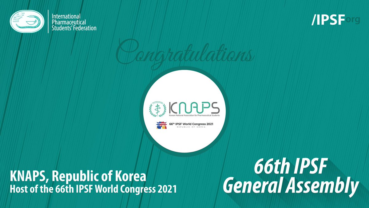 Congratulations to KNAPS, Republic of Korea as the Host of the 66th IPSF World Congress 2021. #IPSFOrg #66thGeneralAssembly https://t.co/SiPCds5Mms