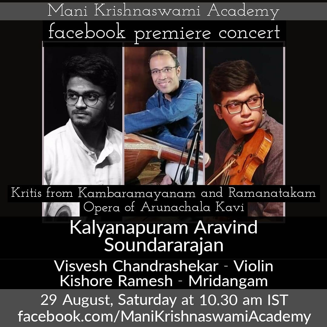 """Presenting a very interesting concept - the Epic """"Ramayana through Music"""" through the beautiful verses of the great poet Kambar and from the Tamil Opera of Ramanatakam by Sri Arunachala Kavi. @surnell @krithikasivasw @MadSachinist @saulabya @ https://t.co/fig6VHh167"""