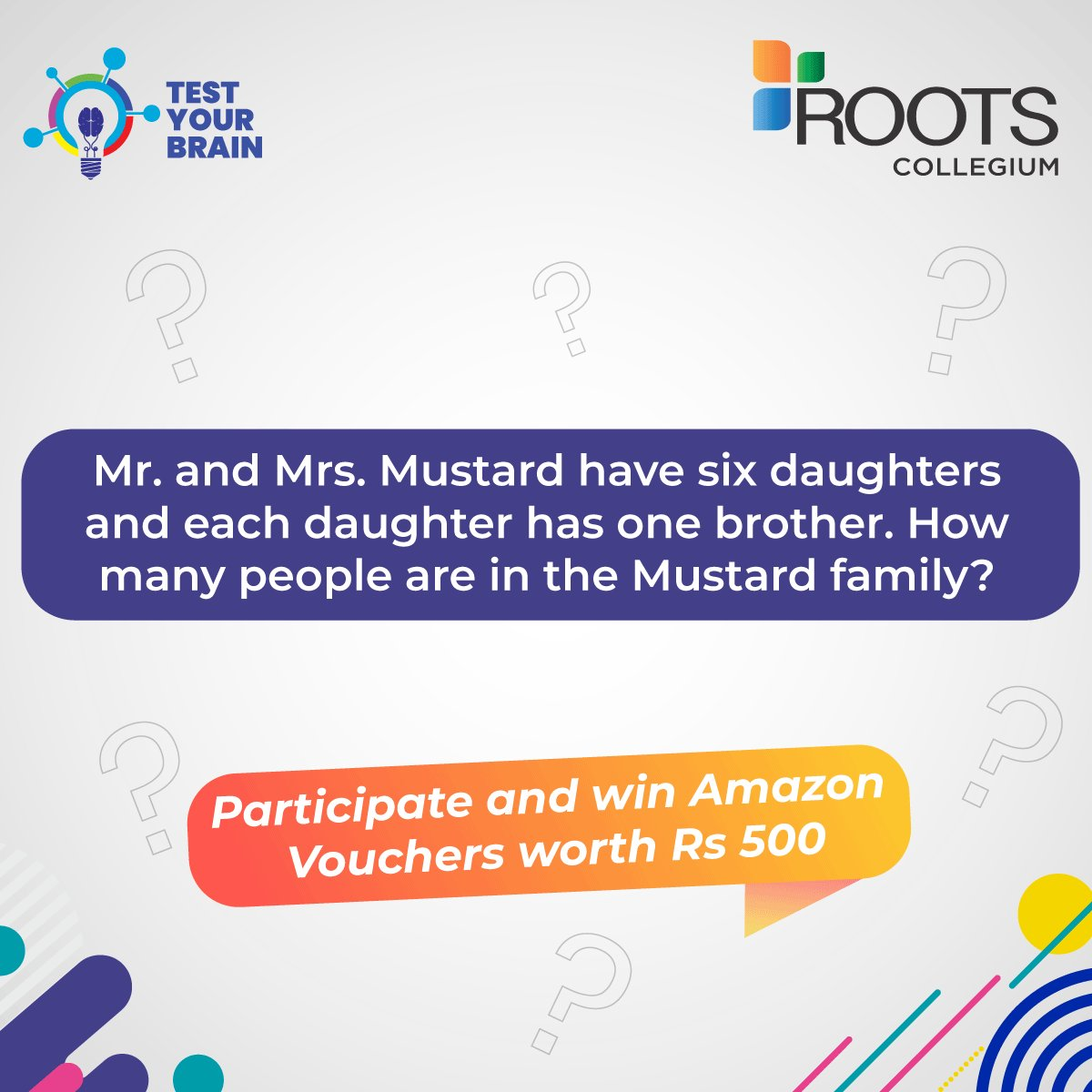 Answer this riddle and 5 lucky winners will get a chance to win Amazon Vouchers of Rs 100 each.  Tag your friends and use: #ROOTSCollegium #TestYourBrain #ContestAlert https://t.co/wZDpBtwPWc