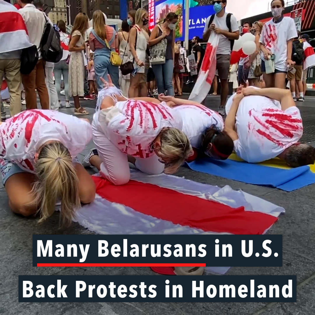 ▶️ Dozens gathered in Times Square to protest the re-election of Belarusan President Alexander Lukashenko, Monday, as people around the United States congregated to show support for the movement.  👉 Belarusians in America Back Protests in Homeland