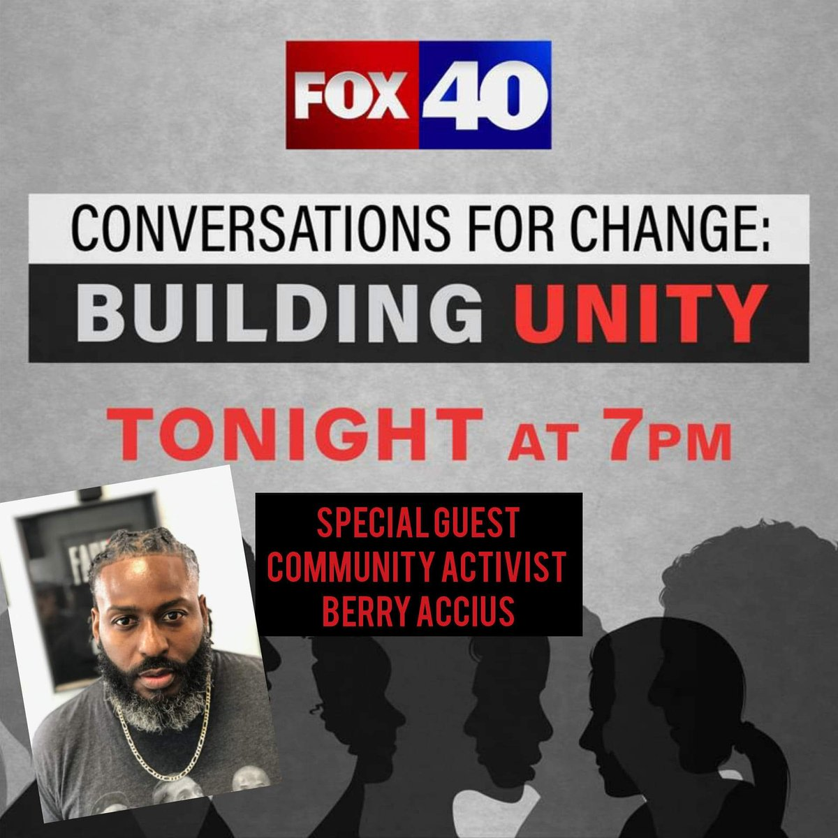 "Today Live on Fox40 at 7pm.......""Conversation for Change:Building Unity"" here goes another one of these things lol. It's always a pleasure for me to lend my perspective especially with these conversations #moretruththanyoucanHandle #blackpowerMatters #BlackBluePrintz https://t.co/sNTv7MmnHr"