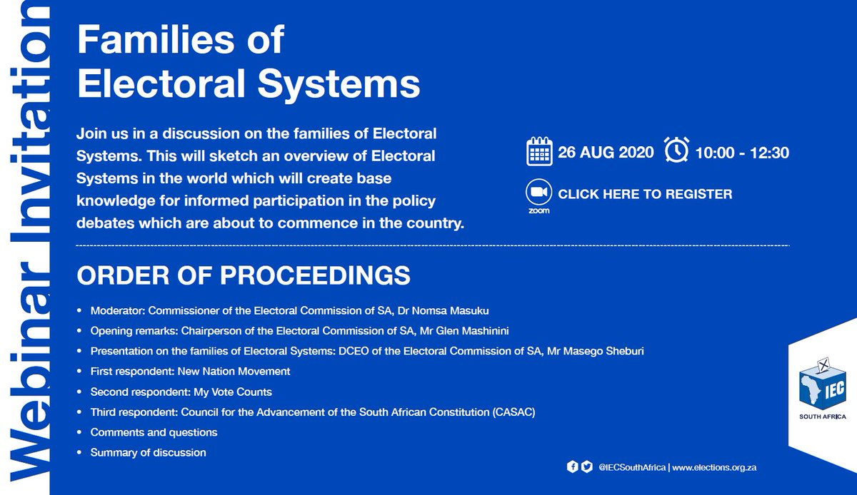 Join us for the second in a series of educational webinars on the different kinds of electoral systems, this time with civil society. Tune in at 10:00 tomorrow, 26 Aug, on https://t.co/mwNOWH94bX for the livestream and share your questions. https://t.co/5T51fL0Bci