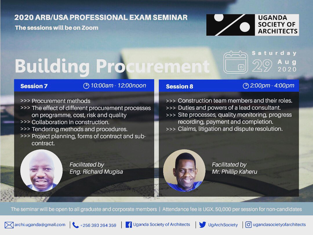 The Seminar on Building Procurement is on this weekend. We look forward to having you.  @UIA_Architects @KKCONSULTINGAR1 @RIBA @architectandre @IAZimbabwe @Arch_KE @ArchDaily @ARBUganda @ArchForumUganda @AUA_UAA @WanyangaStephen @rwadanladies @ASA_IUEA @ArchSsinab @arch https://t.co/iBskh3zaj8