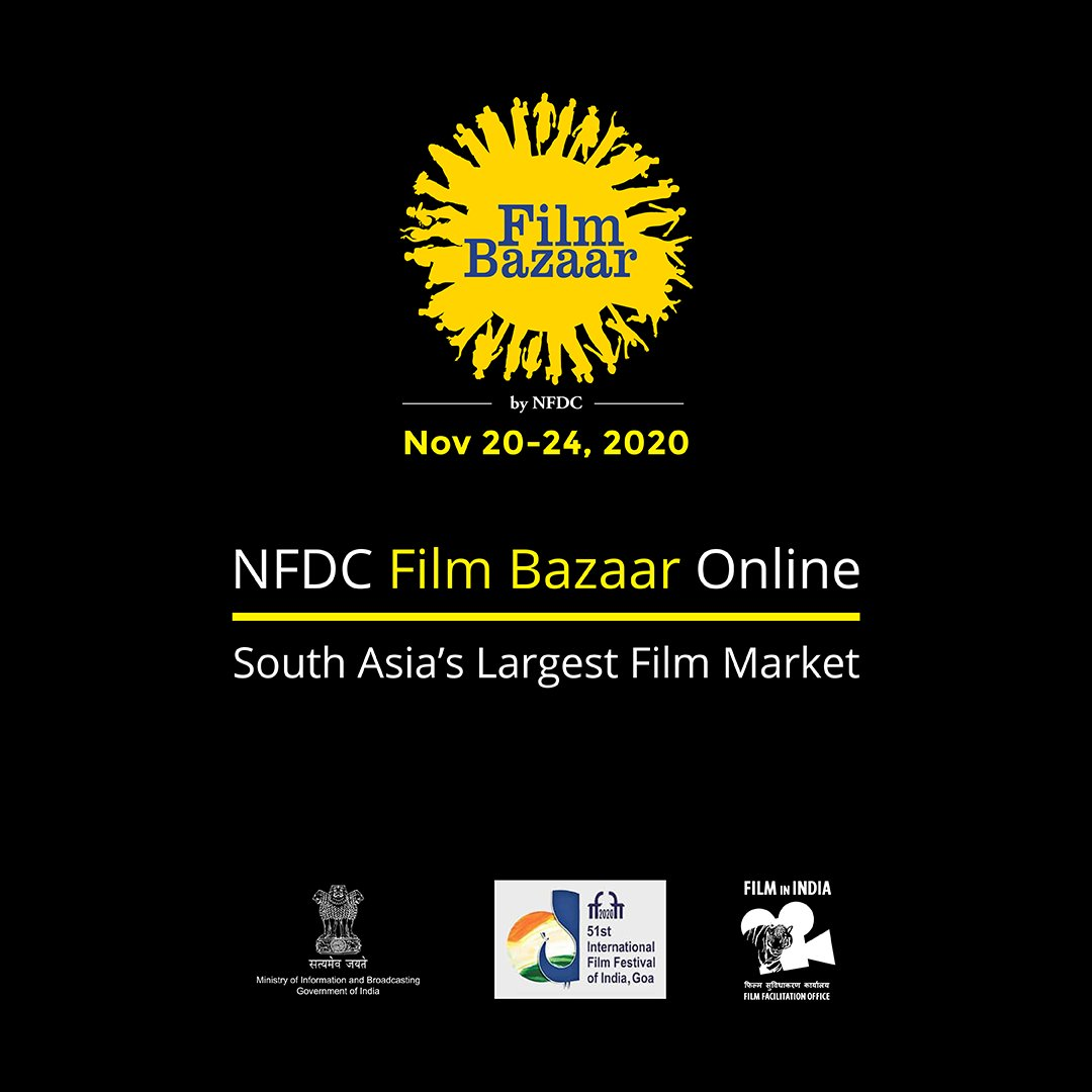 It gives us immense joy to announce NFDC Film Bazaar will be held online from November 20-24, 2020. Get ready to experience South Asia's largest film market virtually. More updates coming soon! #NFDC #FilmBazaar2020 #FilmBazaarOnline https://t.co/ZuXWkQBCax