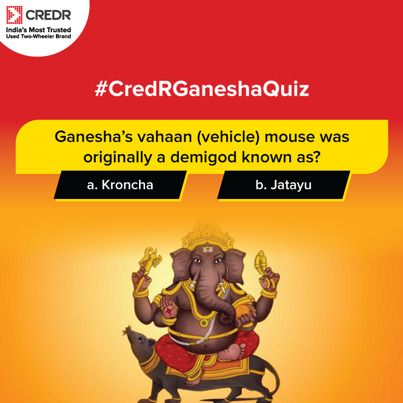 The fourth question of the #CredRGaneshaQuiz is here! Participate now to win exciting vouchers*. Make sure to read the T&C* here before participating - https://t.co/BJktetkppC  #CredR #ContestAlert #ContestIndia #ContestsinIndia https://t.co/IwbjFzBn4i