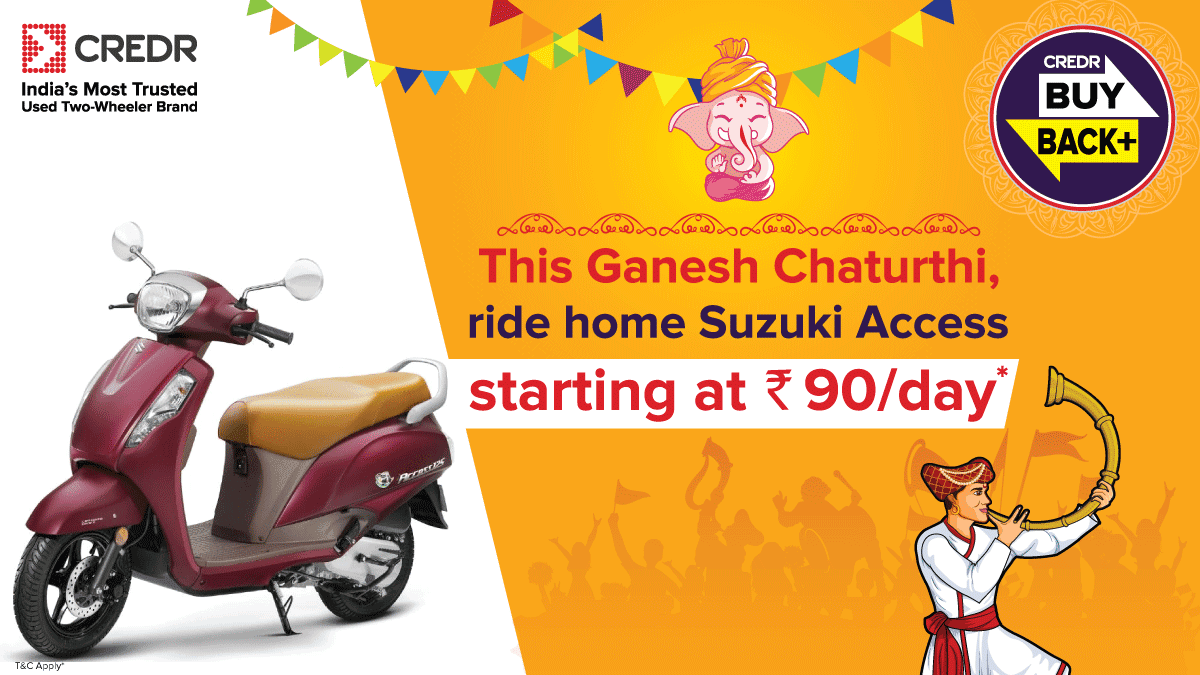 Ride home prosperity this #GaneshChaturthi and buy your own #SuzukiAccess from CredR starting at Rs. 90/day under the #CredRBuyBackPlus. Book a test ride here - https://t.co/Pa1LK4JGUb #CredR #BuyBackPlus https://t.co/gn3vWUDxkn