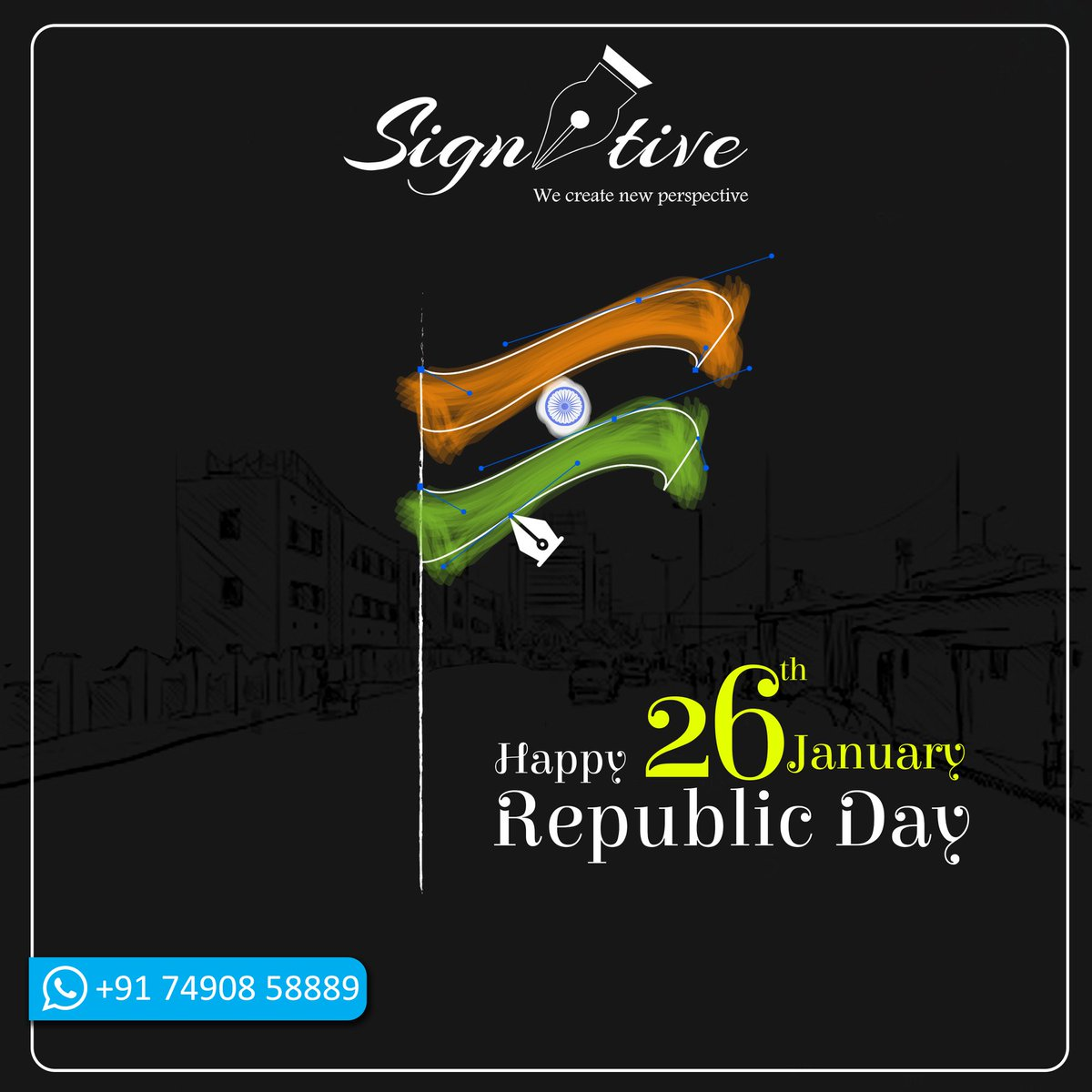 Let the flag of creativity soar high in the air..! Wishing you a Happy Republic Day  Contact : +91 7490858889  #republicday #republicday2020 #republicdayindia #branding #photography #socialmediamarketing #designing #graphics #signitive https://t.co/oICwmLdZvF