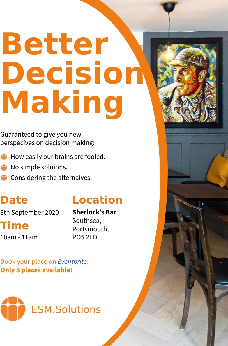 Better Decision Making course is being held in Southsea on September 8th, learn how to identify approaches to prevent mistakes and build a framework that will help. eventbrite.co.uk/e/better-decis… #SmallBiz #startup #Portsmouth #Gosport