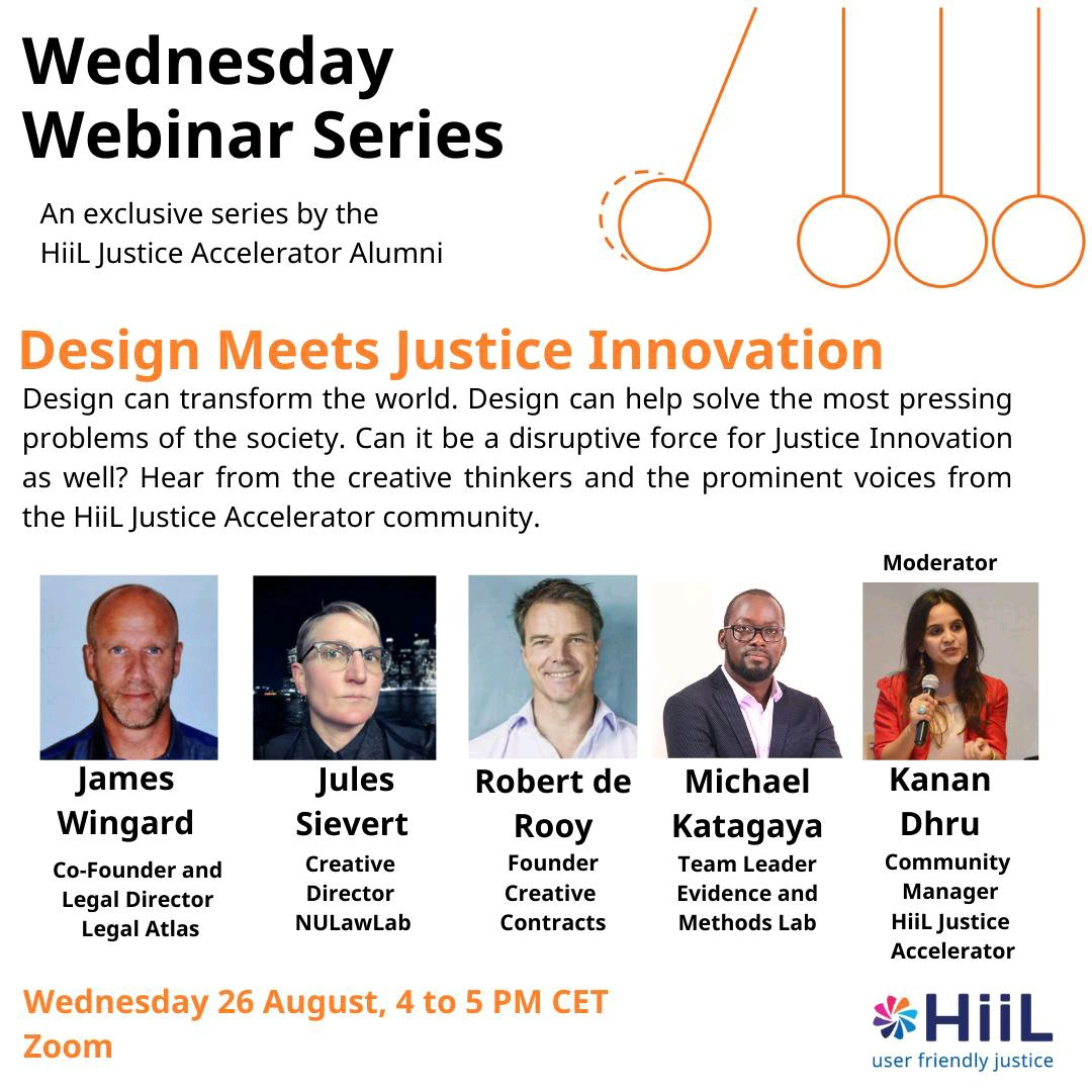 This month, we will be discussing the power of creativity and design to innovate Justice and interacting on the role design can play in transforming the justice sector!  Date: 26 August, 2020 Time: 4 to 5 PM CET Register here: https://t.co/FGK2Ip7PnG  #WednesdayWebinar https://t.co/xjWaMJpPHh