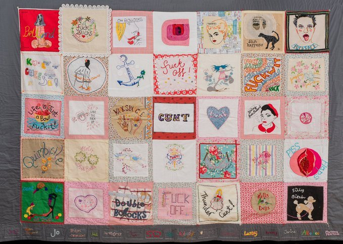 The Quilt of Profanity collaborative textile work by the Profanity Embroidery Group (PEG), Whitstable, UK, known for their stitching and swearing #womensart