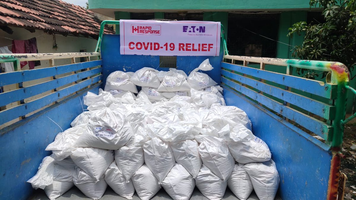 Visually-impaired persons, who sell small items on trains in #Chennai, face loss of income due to #COVID19 lock-down. With the help of Eaton India, we have reached out another 100 families with ration kits. #Covid19India