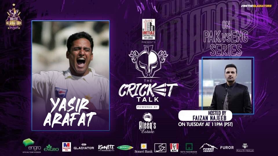 #PurpleForce! Join us after the final day of #PAKvENG Test as we host all-rounder @YasArafat12 in the Imtiaz Constructions presents #TheCricketTalk powered by Ateeq's Estate tonight at 11 PM.  💭Share your views on the Test series & upcoming T20Is as @najeebfaizan discusses them. https://t.co/N6FuazzROj