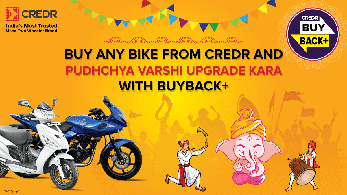 Hello Punekars!  The perfect time to own your dream bike is now! Buy any used bike from #CredR and upgrade to a new bike every year* with the #CredRBuyBackPlus.  Book here - https://t.co/NTAyXQHUkH #GaneshChaturthi #OfferAlert #UsedBikes https://t.co/JhTtJhrVvM