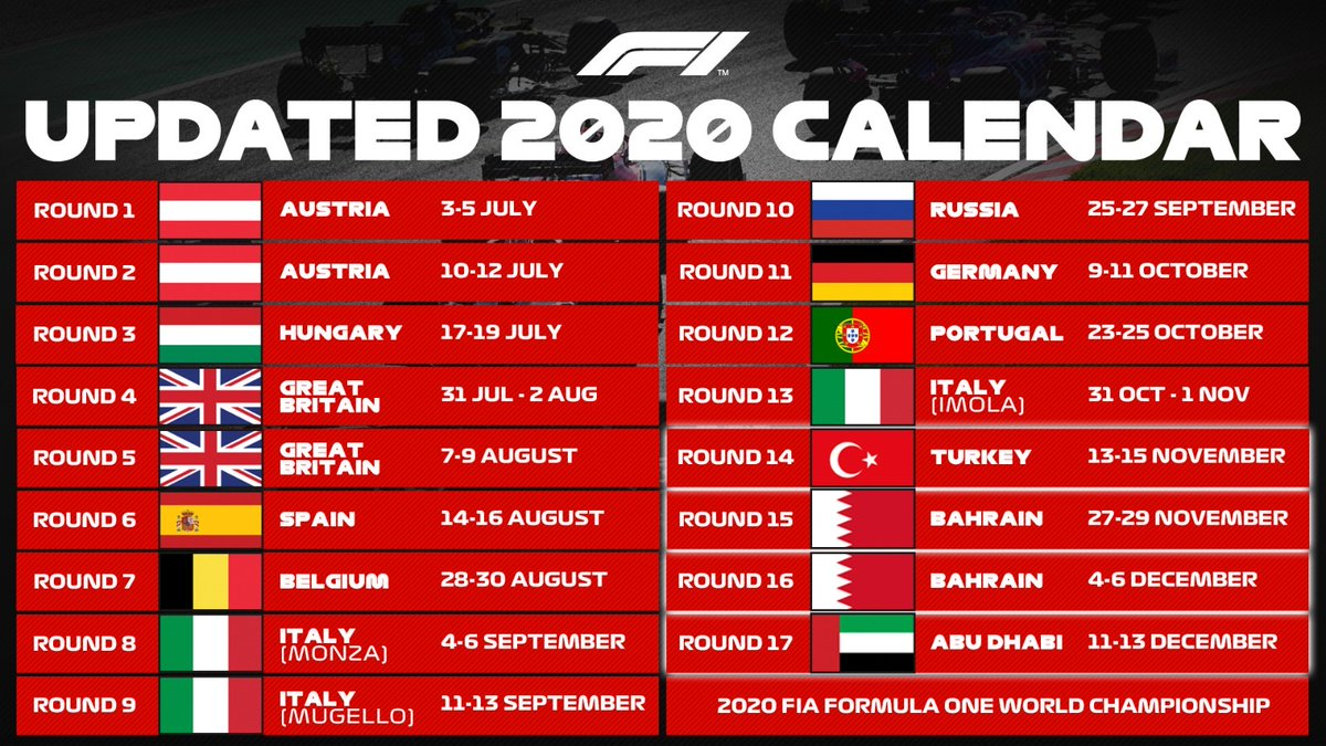 Here's the updated 2020 race calendar 👀  #F1 https://t.co/o6INhA3YY8