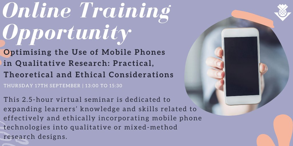 We have another exciting training opportunity to share! 'Optimising the Use of Mobile Phones in Qualitative Research: Practical, Theoretical and Ethical Considerations' is a student-led training event led by @KaradzhovD. More details here 👉 https://t.co/fVsbJ3OVaf #phdchat https://t.co/gMYt8G7nnm