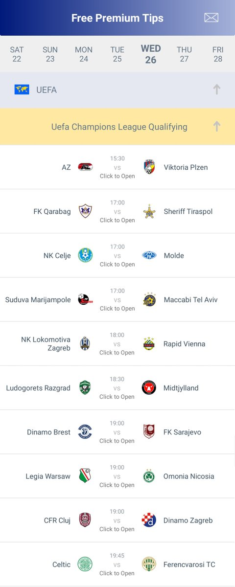 #UEFA #ChampionsLeague #Qualifying // 26-08-2020  #AZ vs #ViktoriaPlzen - 15:30H GMT #FKQarabag vs #SheriffTiraspol - 17:00H GMT #NKCelje vs #Molde - 17:00H GMT #SuduvaMarijampole vs #MaccabiTelAviv - 17:00H GMT ...  All #Predictions 👉 https://t.co/fZpOvDSaPk https://t.co/1gT9TnEE9J