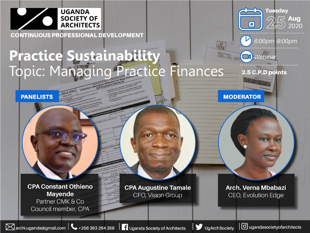 It is on this evening, invite a friend to invite a friend. Come let us learn how to manage our finances in the practice of Architecture or the workplace.   Kindly send us an email on archi.uganda@gmail.com to receive the login details.  We look forward to having you join us! https://t.co/UmNakm8KYa