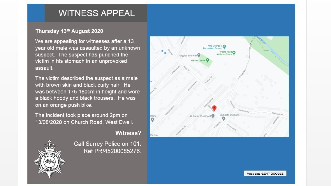 A witness appeal for an assault in #Ewell.