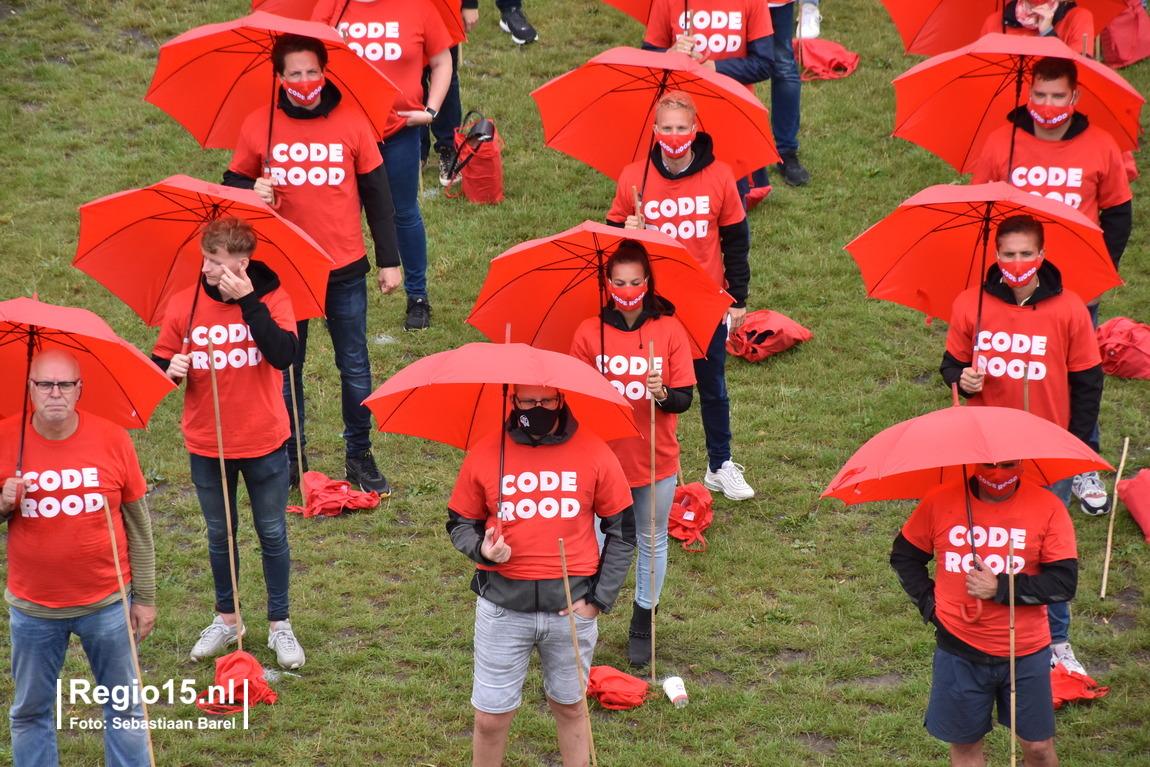 Malieveld Den Haag kleurt rood vanwege demonstratie evenementenbranche