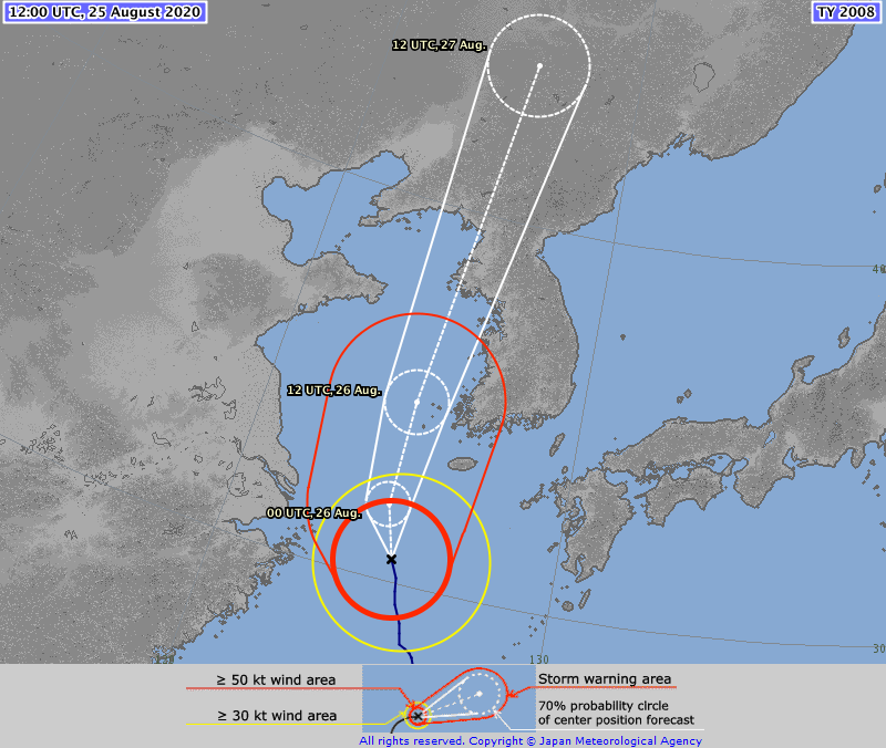 ⚠️ ⚠️ TYPHOON #BAVI #09W 25/1200Z 30.6°N 125.2°E, moving NNW 06kt. Max sus wind 80kt, gusts to 115kt. 955hPa (RSMC Tokyo)  BAVI is a CAT 2 storm on Saffir Simpson Hurricane Wind Scale expected to become a CAT 3 storm on same scale by 25 Aug, 1800 (TSR)  https://t.co/FqPhbPBQrF https://t.co/MSa8FhbbGE