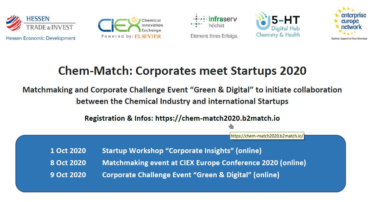 "Chem-Match: Corporates meet Startups 2020 - Matchmaking and Corporate Challenge ""Green & Digital"" to initiate collaboration between the #chemicalindustry and #startups! https://t.co/7qAmMkYCaZ #HTAI_Hessen @ciexeu @deHubChemHealth @Infraserv #eencanhelp #EEN_Deutschland #B2B https://t.co/5cm0pRS7la"