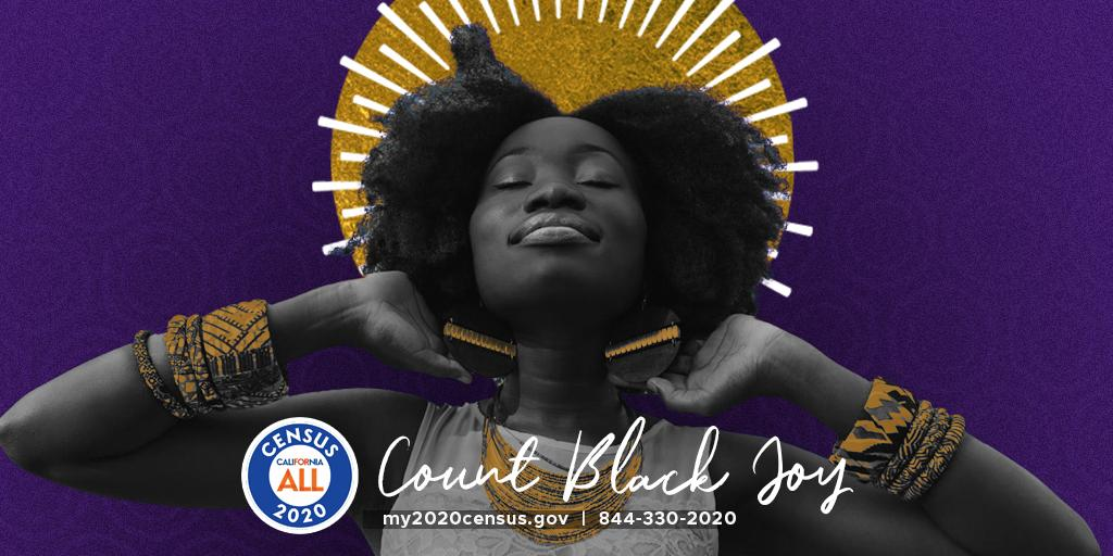 Black Californians create joy from the light within.   Celebrate Black joy by completing the #Census2020 and ensure a brighter future for all Black Californians. One we can live our best lives in.   Call 844-330-2020 or visit https://t.co/hqho0b6lJT.   #CountBlackCA #Californi... https://t.co/yvUmBERQsw