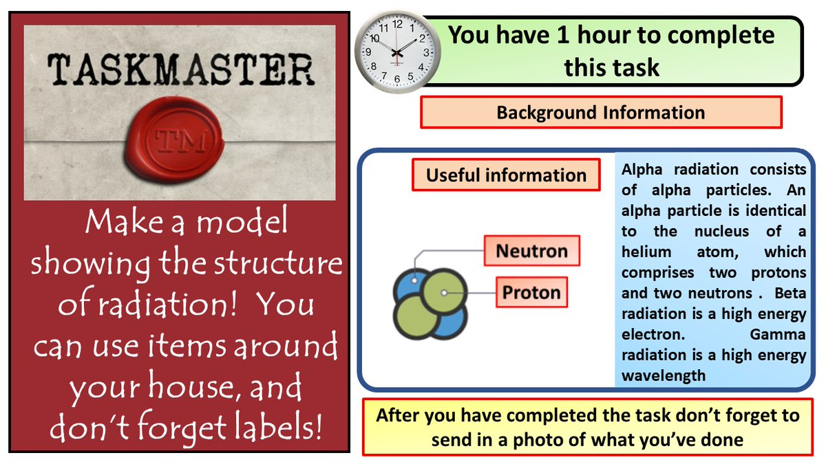 During lock down I've watched far too much taskmaster.  Here's a task for students to have a go at  #ukedchat #aussieED #TeamScience #homeschooling #edutwitter #hometasking https://t.co/O4BWN0m9u6