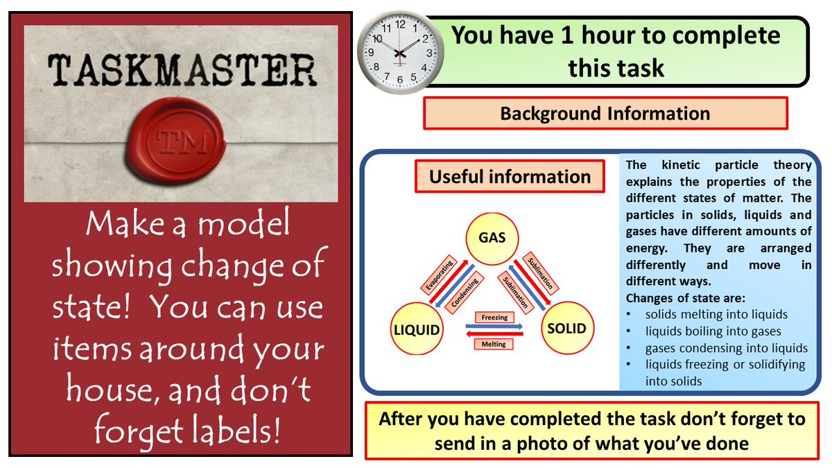 During lock down I've watched far too much taskmaster.  Here's a task for students to have a go at  #ukedchat #aussieED #TeamScience #homeschooling #edutwitter #hometasking https://t.co/UfL72AEUhd