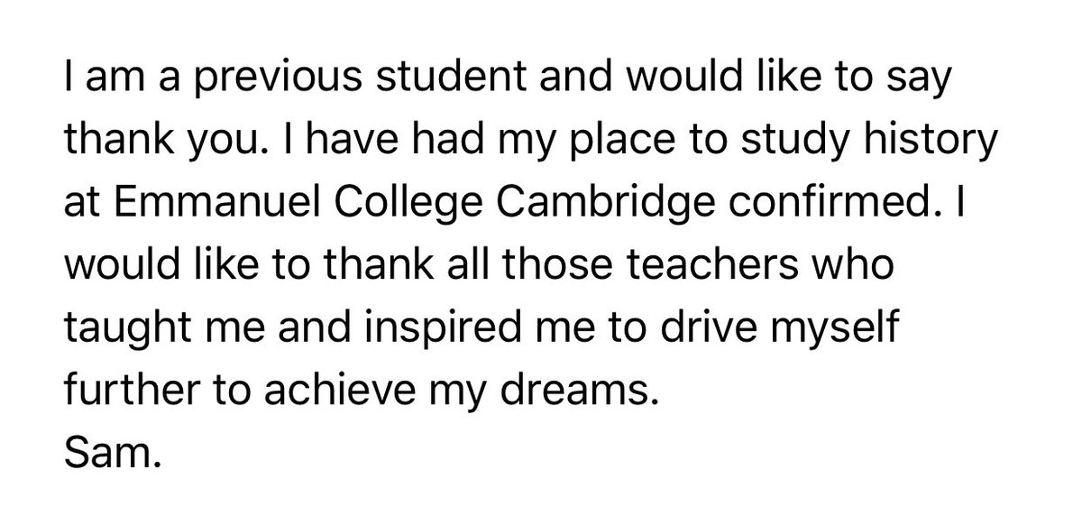 Well done Sam on gaining a place to read history @Cambridge_Uni !! Congratulations!! 👏🏻👏🏻👏🏻👏🏻👏🏻👏🏻👏🏻 #proud #bbsfamily https://t.co/6zP5vgiOIi