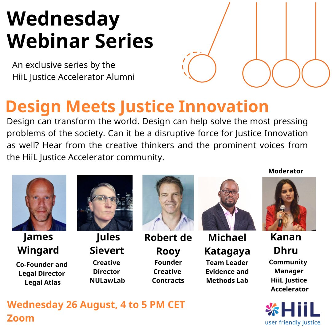 Thrilled to announce the Wednesday Webinar for August. This month, we will be discussing the power of creativity and design to innovate Justice! @InnoJustice  Date: 26 August 2020 Time: 4 to 5 PM CET Register here: https://t.co/AJHicViUwi https://t.co/ug9zgKPLce