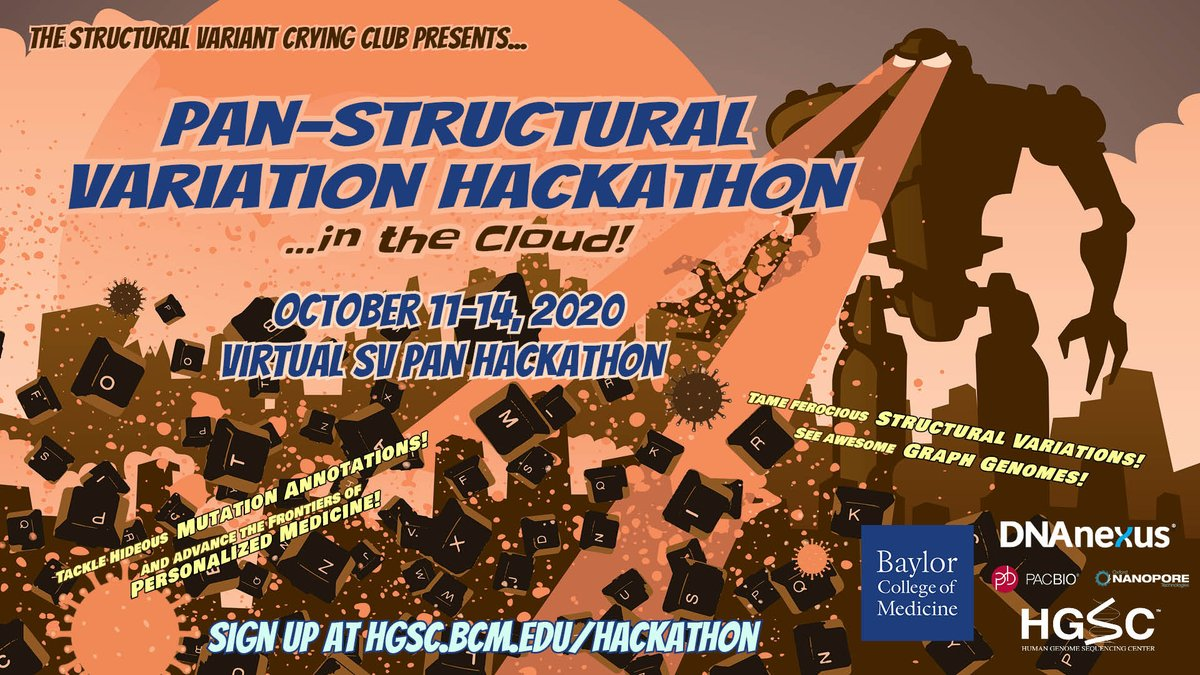 Excited to announce our remote #hackathon  @BCM_HGSC  (Oct. 11-14). Focusing on Structural Variations, Pangenomes + #COVID19 . Go and register now: https://t.co/yggDHhaxRJ.  Looking forward to 4 exciting days of fun and #Bioinformatics!  @DCGenomics @BCMFromtheLabs  #Genomics https://t.co/kx0KRMsZ7c