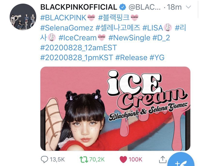 Lili S Knight On Twitter Records Created By Lisa S Ice Cream Poster Fastest Tweet By A Female Idol To Surpass 100k Likes In Just 18 Minutes Fastest Tweet By A Female
