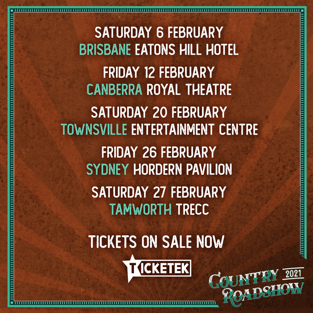 Country Roadshow brings together 5 artists from legends to emerging talent - @adambrand , @TravisCollins01, @Wolfe_Brothers, @jasminerae and @The_Buckleys - for a jam-packed country experience like no other.   Tickets on sale 10am today (local times)! 🎟️ https://t.co/0kW4pXojG7 https://t.co/L4UxZ3i1sV