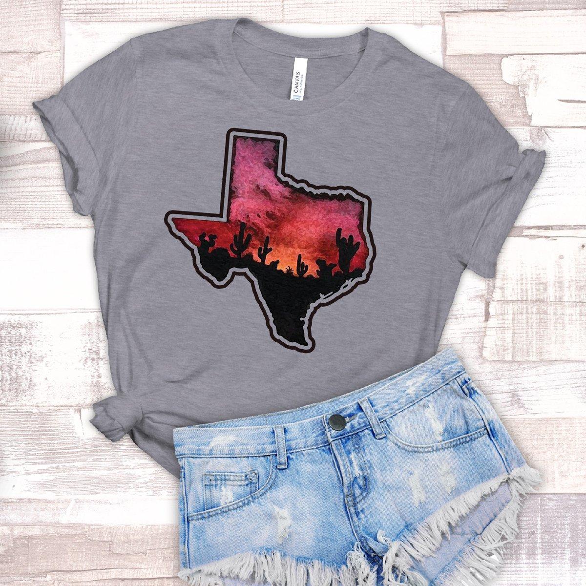 Texas Sunset T-Shirt // Unisex Soft Style on Gray by texascountrymusic etsy.me/3aYK5Mk via @Etsy